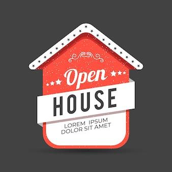 Kreatywna otwarta etykieta czerwony dom