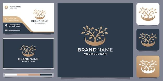Kreatywna pielęgnacja liści naturalnych i drzewo ekologia logo i szablon projektu wizytówki.
