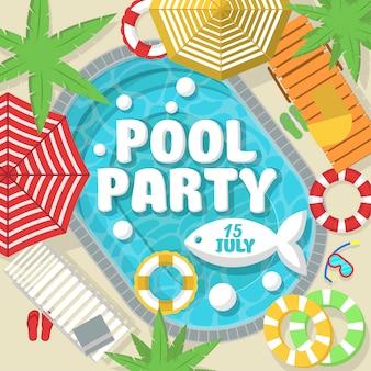 Kreatywna pocztówka zapraszająca na przyjęcie przy basenie