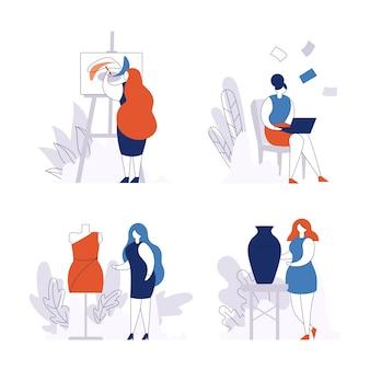 Kreatywna praca dla kobiety zestaw na białym tle na biel