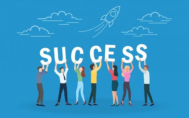 Kreatywna praca zespołowa z powodzeniem i strategia biznesowa, współpraca i sukces.