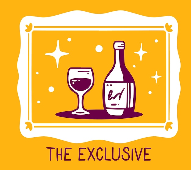 Kreatywna prosta ilustracja białej ramki z butelką napoju alkoholowego i szkła na pomarańczowym tle.