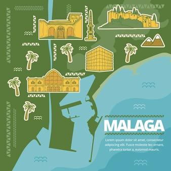 Kreatywna, ręcznie rysowana mapa malagi