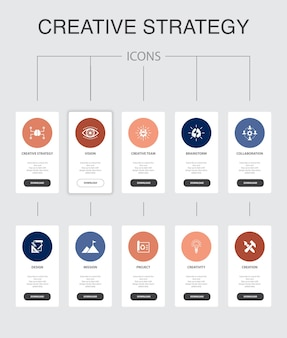 Kreatywna strategia infografika 10 kroków do projektowania interfejsu użytkownika. wizja, burza mózgów, współpraca, proste ikony projektu