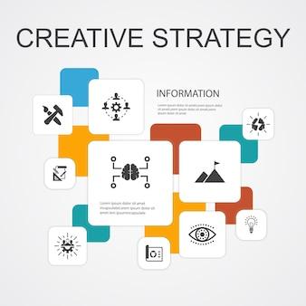 Kreatywna strategia infografika 10 linii ikony szablon. wizja, burza mózgów, współpraca, proste ikony projektu