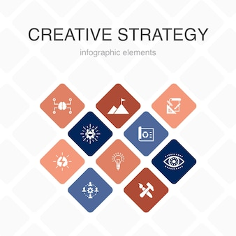 Kreatywna strategia infografika 10 opcji kolorów. wizja, burza mózgów, współpraca, proste ikony projektu