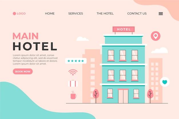 Kreatywna strona docelowa hotelu z ilustracją