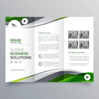 Kreatywna trójwarstwowa broszura z zielonym i szarym falistym kształtem