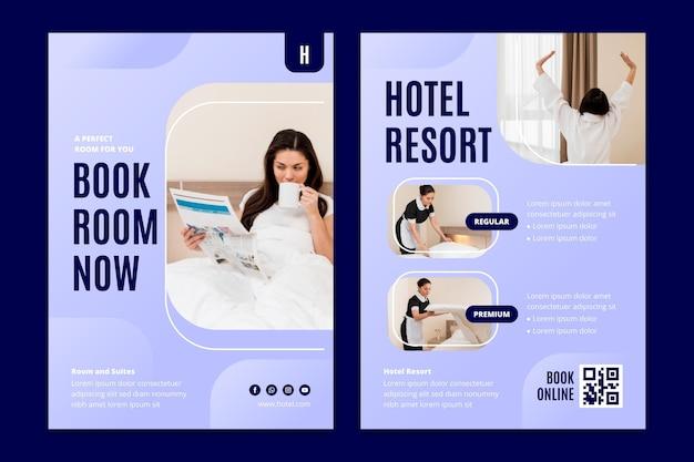 Kreatywna ulotka informacyjna hotelu ze zdjęciem