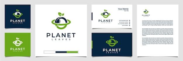 Kreatywna wizytówka z logo liścia planety i papier firmowy