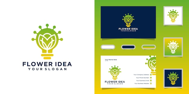 Kreatywna żarówka w połączeniu z logo kwiatów i projektami wizytówek