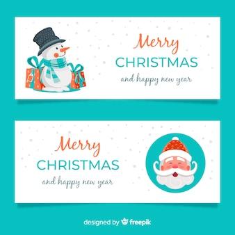 Kreatywne banery świąteczne w płaskiej konstrukcji