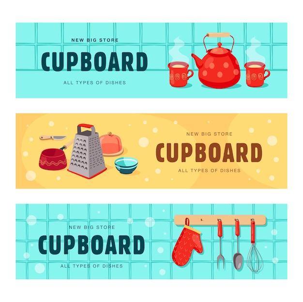 Kreatywne banery z naczyniami do szafki. zestaw bannerów z czajnikiem, filiżankami, tarką, trzepaczką, rękawicą kuchenną