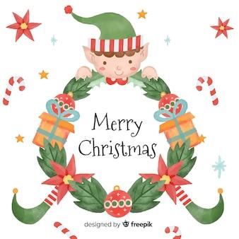 Kreatywne Boże Narodzenie wieniec tło w stylu przypominającym akwarele