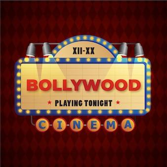 Kreatywne bollywood kino znak ze światłami