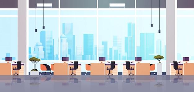 Kreatywne centrum współpracujące biuro puste miejsce pracy bez ludzi z meblami nowoczesna szafka wnętrze płaskie poziome