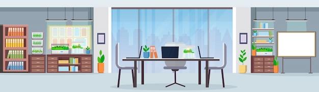 Kreatywne centrum współpracy miejsce pracy biurko nowoczesne biuro wnętrze z elektronicznym terrarium szklany pojemnik rośliny rosnące koncepcja płaskie poziome