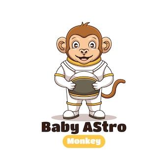 Kreatywne dziecko astronauta małpa kreskówka maskotka