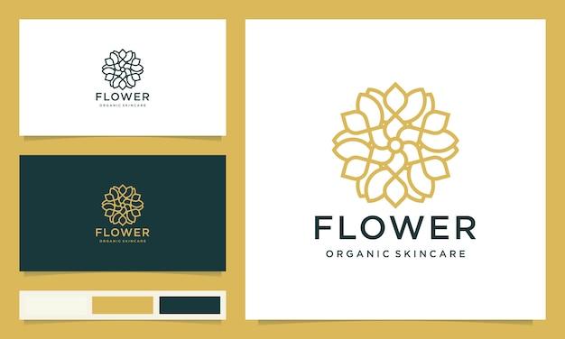 Kreatywne eleganckie logo z liści i kwiatów róży dla urody, kosmetyków, jogi i spa