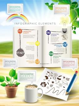 Kreatywne elementy infografiki na białym tle na stole na świeżym powietrzu