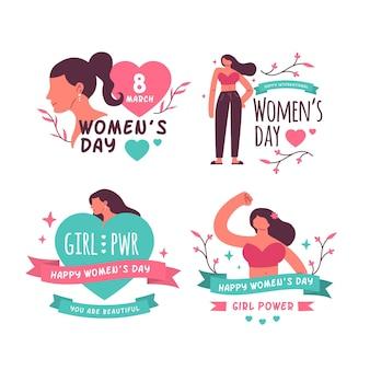 Kreatywne Etykiety Na Międzynarodowy Dzień Kobiet Premium Wektorów