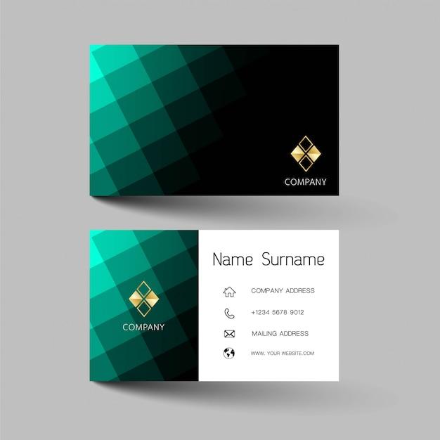 Kreatywne i czyste projektowanie wizytówek. kolor zielony i czarny.