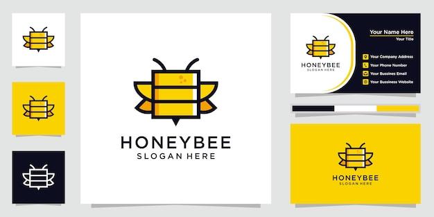 Kreatywne i eleganckie logo pszczoły miodnej z wizytówką.