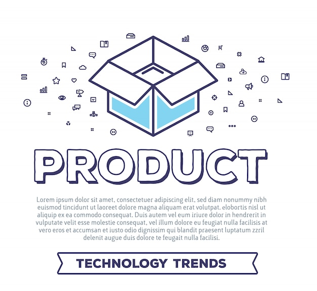 Kreatywne ilustracji wektorowych otwartego pudełka z typografią słów i chmurą ikon linii na białym tle. pakowanie produktu