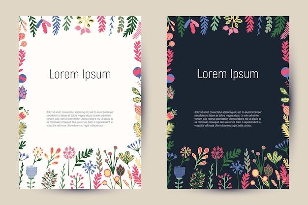 Kreatywne karty kwiatowe z kwitnącymi kwiatami i roślinami. vintage szablon tła na ulotki, banery, plakaty, zaproszenia, broszury, artykuły redakcyjne itp.