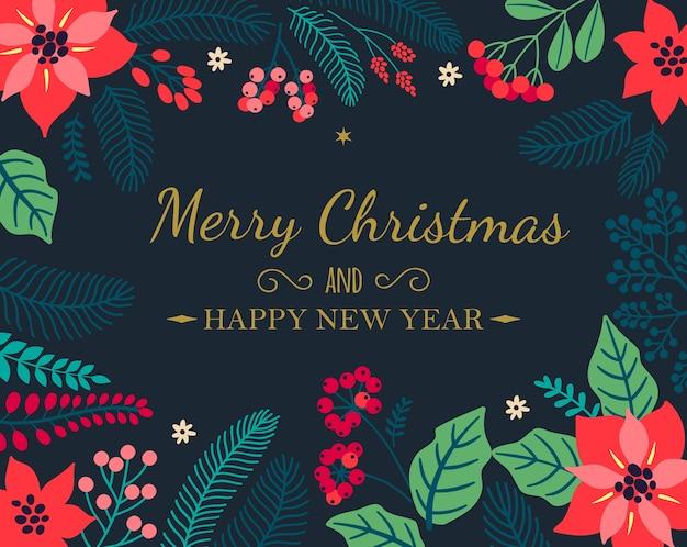 """Kreatywne karty. plakaty świąteczne. kartkę z życzeniami z roślinami zimowymi na niebieskim tle. nowoczesny napis """"wesołych świąt i szczęśliwego nowego roku"""". tło wakacje. ilustracja."""