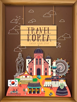 Kreatywne kolekcje koncepcji podróży do korei południowej na tablicy