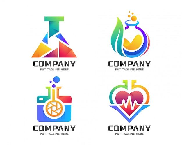 Kreatywne kolorowe logo laboratorium dla firmy