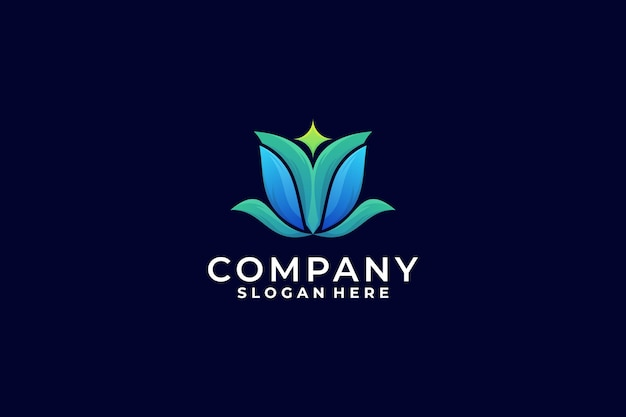 Kreatywne kolorowe logo lotosu, logo gradientowe