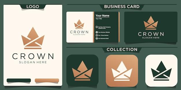 Kreatywne korony streszczenie szablon wektor projektu logo. koncepcja vintage crown logo royal king queen