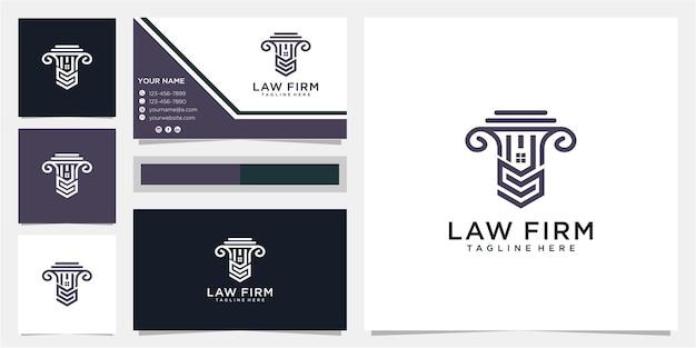 Kreatywne litery s kancelaria i projekt logo nieruchomości z wizytówką