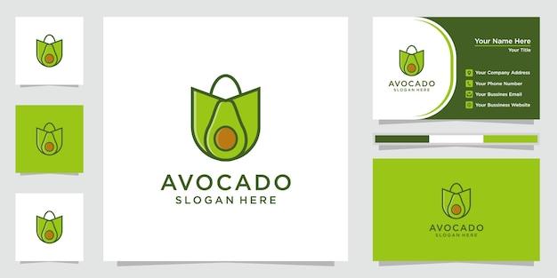 Kreatywne logo awokado. logo sklepu z awokado i wizytówka.