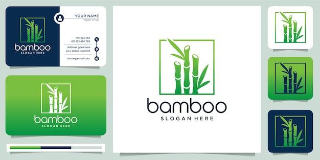 Kreatywne logo bambusa. dla firmy biznesowej, ramki, liści, pandy, kolekcji., nowoczesny styl i ilustracja wizytówki.