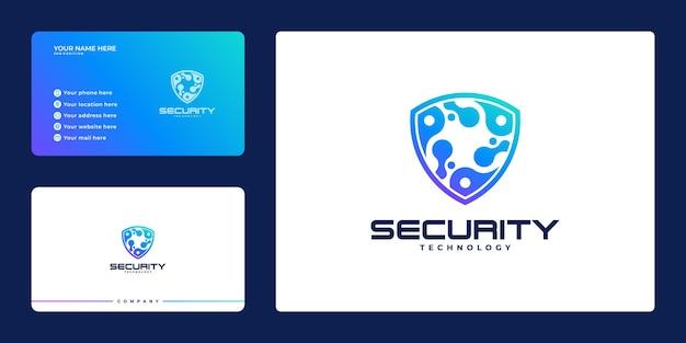 Kreatywne logo bezpieczeństwa z tarczą i wizytówką, koncepcja tarczy bezpieczeństwa, bezpieczeństwo w internecie,