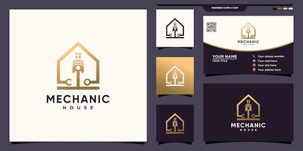 Kreatywne logo domu mechanicznego z nowoczesną unikalną koncepcją i projektem wizytówek premium wektorów