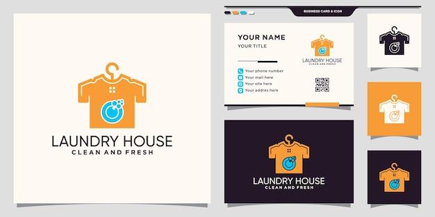 Kreatywne logo domu prania z koncepcją negatywnej przestrzeni i projektem wizytówek premium wektorów