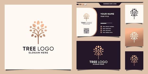 Kreatywne logo drzewa w stylu linii i projektu wizytówki premium wektorów