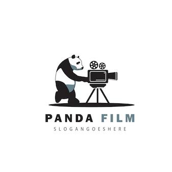 Kreatywne logo filmu panda i kamery