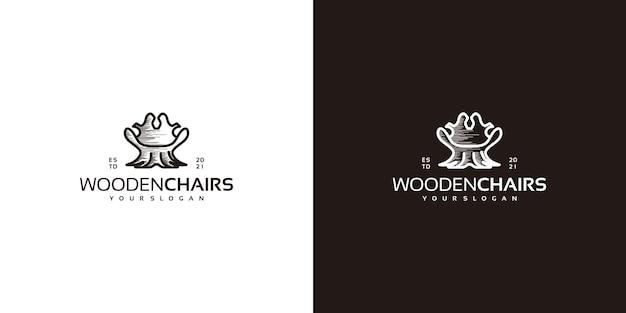 Kreatywne logo krzesła z kłodami, logo rzemieślnika i nie tylko