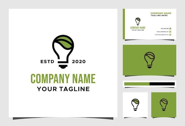 Kreatywne logo liścia żarówki i projekt wektora wizytówki