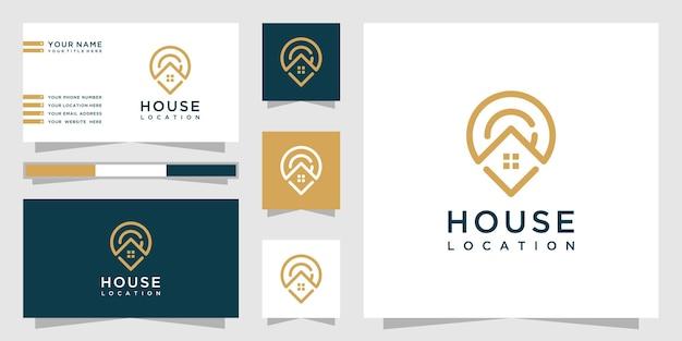 Kreatywne logo lokalizacji domu ze stylem grafiki liniowej i projektem wizytówki