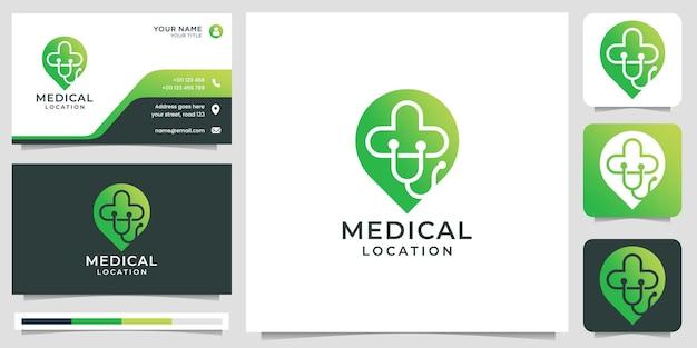 Kreatywne logo medyczne z kształtem koncepcji pinezki lokalizacji. projekt logo i wizytówki. wektor premium