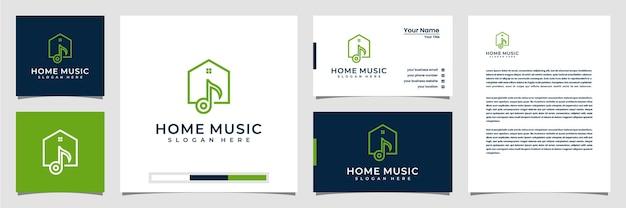 Kreatywne logo muzyki domowej z wizytówką i papierem firmowym w stylu sztuki linii