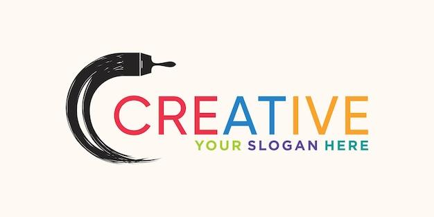 Kreatywne logo obrysu pędzla okrągłego z unikalną nowoczesną koncepcją premium wektor