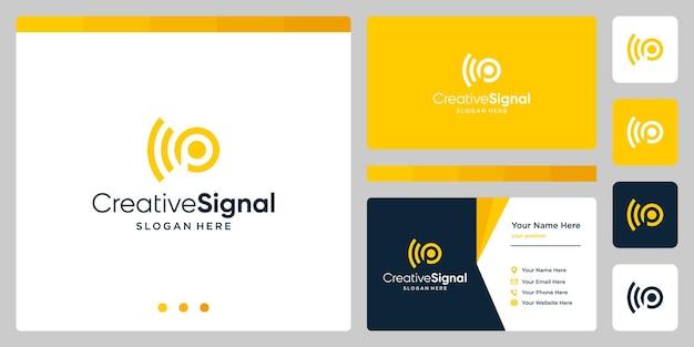 Kreatywne logo początkowej litery p z logo sygnału wifi. szablon projektu wizytówki