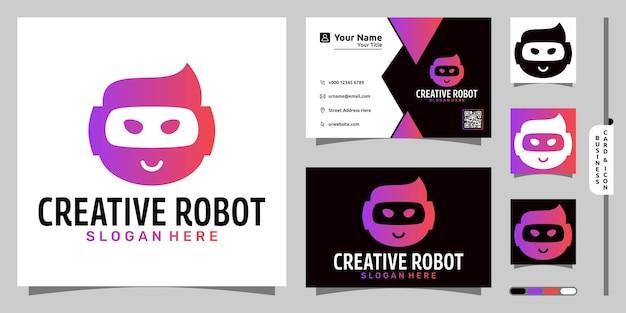 Kreatywne logo robota nowoczesna koncepcja i projekt wizytówki
